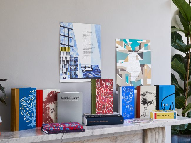 Mantelpiece with Faber Members products on it